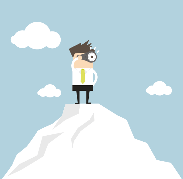 Illustration eines Lehrenden, der mit einem Fernglas in der Hand auf einem Berg steht und in die Zukunft blickt.