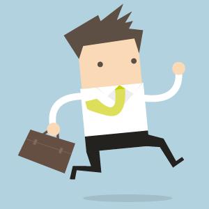 Illustration eines Lehrenden, der mit einer Aktentasche in der Hand zu seinem nächsten Termin flitzt.