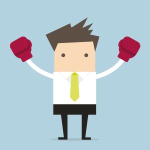 Illustration eines Lehrenden, der Hände mit Boxhandschuhen in die Höhe hält.
