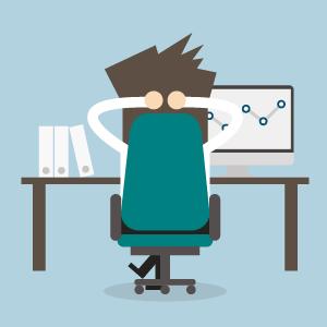 Illustration eines Lehrenden, der entspannt am Schreibtisch sitzt und alles im Griff hat.