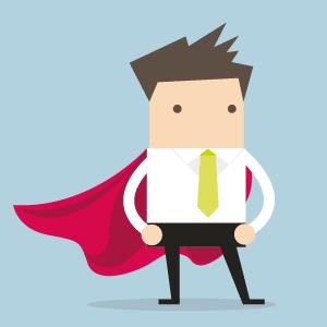 Illustration eines Lehrenden mit Superhelden-Umhang