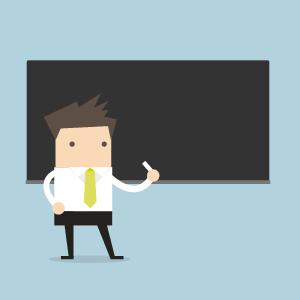 Illustration eines Lehrenden mit Tafel und Kreide. Dies stellt die traitionelle Lehre dar.