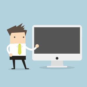 Illustration eines Lehrenden, der neben einem großen Bildschirm steht. Diese Illustration stellte die Anreicherung der Lehre mit Multimedia und Interaktivität dar.