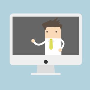Illustration eines Lehrenden, der von einem Bildschirm aus lehrt. Diese stellt eine Visualsierung von reiner Online-Lehre dar.