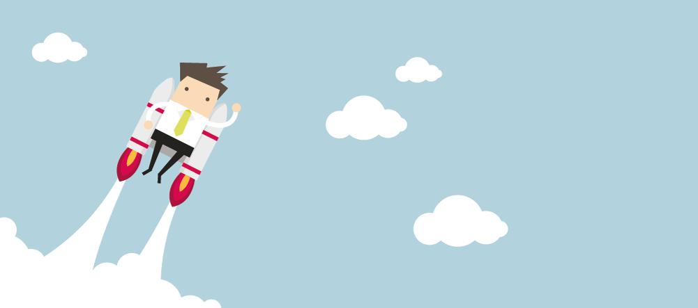 Illustration eines Lehrenden, der mit einer Rakete auf dem Rücken Richtung Zukunft abhebt.
