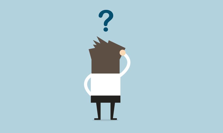 Illustration eines Lehrenden mit einem Fragezeichen über dem Kopf.