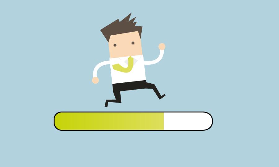 Illustration eines Lehrenden, der auf einem Ladebalken entlang rennt.