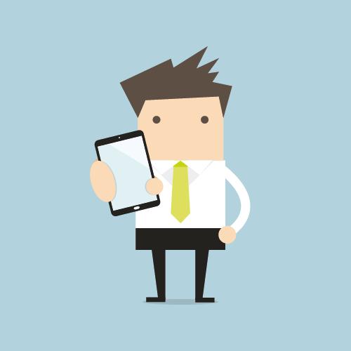 Illustration eines Lehrenden, der ein Handy in der Hand hält.