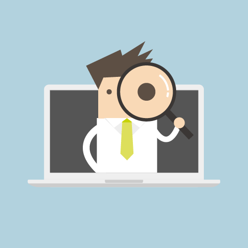 Illustration eines Lehrenden, der mit einer Lupe vor dem linken Auge aus einem Laptop-Bildschirm herausschaut.