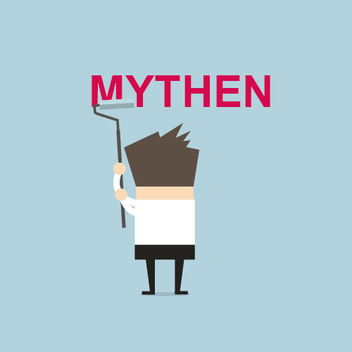 """Illustration eines Lehrenden, der mit einem Farbroller das Wort """"Mythen"""" übermalt."""
